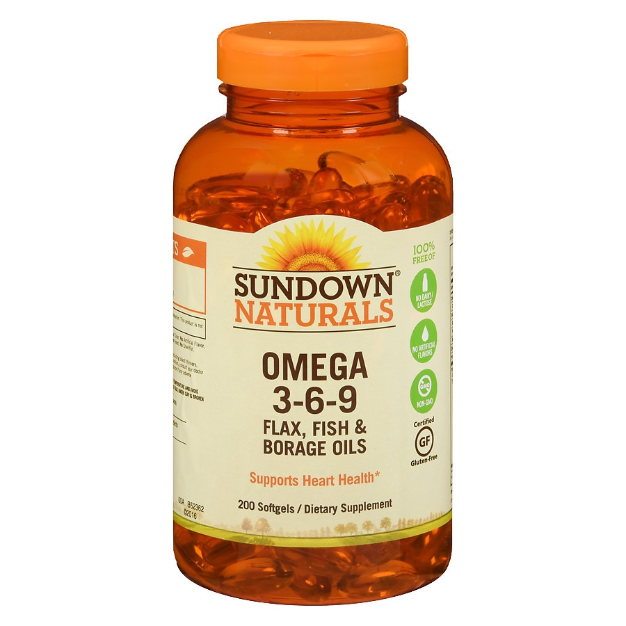 Sundown naturals omega 3 6 9 dietary supplement softgels for Fish flax and borage oil