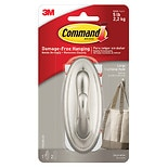 Command Strips Damage-Free Hanging:  Decorative Large Hook, Brushed Nickel 1 hook/ 2 large strips