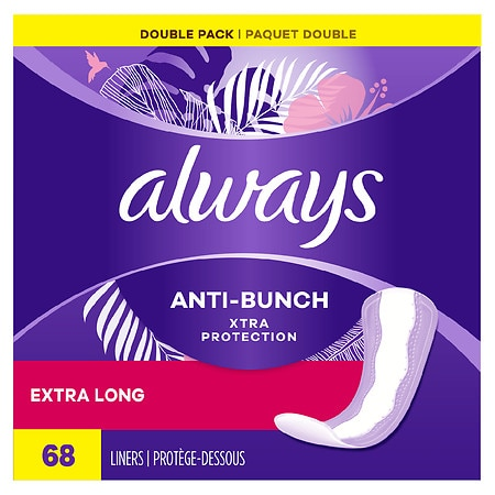 Always Xtra Protection Daily Liners, Extra Long Unscented, 2pk