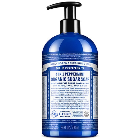 Dr. Bronner's 4-IN-1 Sugar Organic Pump Soap Peppermint