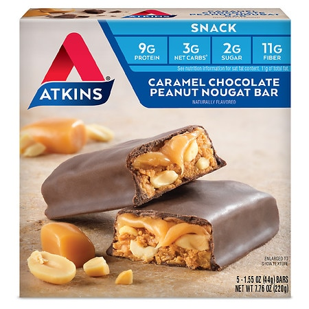 Atkins Advantage Snack Bars Caramel Chocolate Peanut Nougat - 1.6 oz. x 5 pack