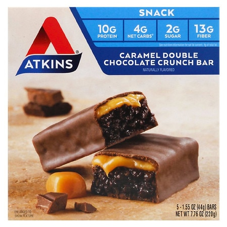 Atkins Advantage Snack Bars Caramel Double Chocolate Crunch, 5 pk