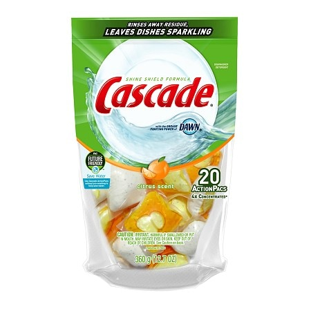 Cascade 2-in-1 ActionPacs with Dawn Dishwasher Detergent Citrus Breeze