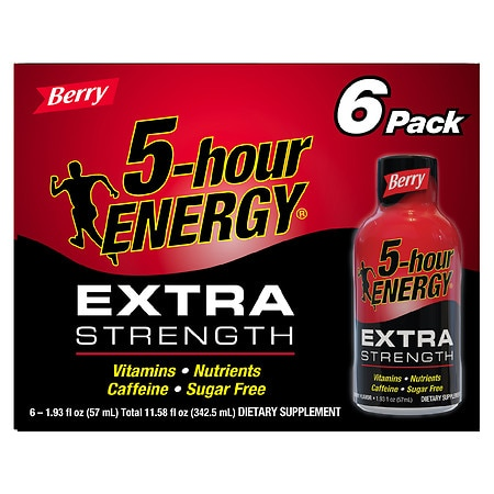 5-Hour Energy Extra Strength Dietary Supplement Shot Berry, 6 pk