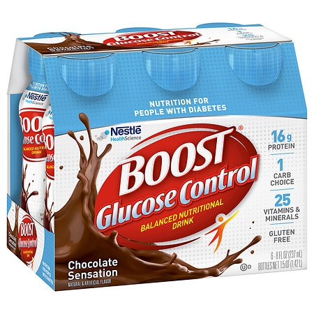 Boost Glucose Control Nutritional Drink Rich Chocolate, 8 oz Bottles, 6 pk