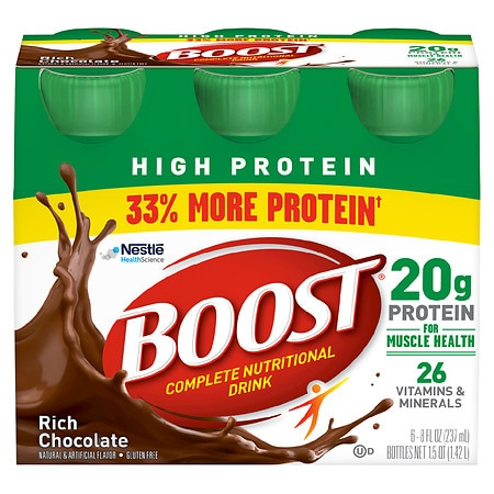 Boost High Protein Complete Nutritional Drink Rich Chocolate - 8 oz. x 6 pack