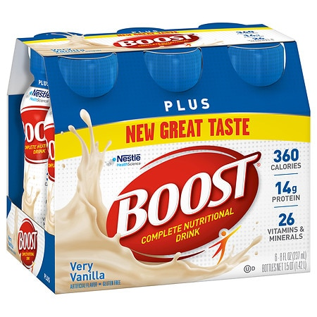 Boost Plus Complete Nutritional Drink Very Vanilla, 8 oz Bottles, 6 pk