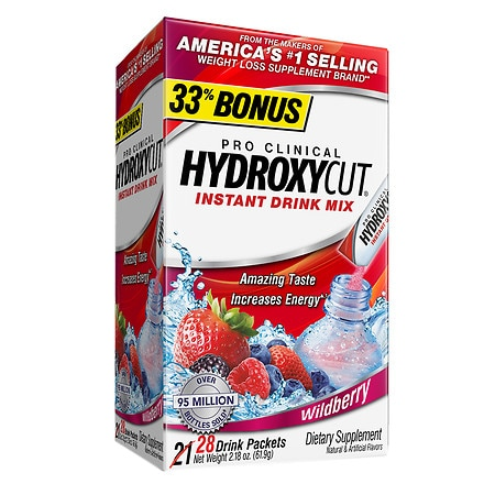 Hydroxycut Pro Clinical Weight Loss Dietary Supplement Powder Wildberry, 21 pk