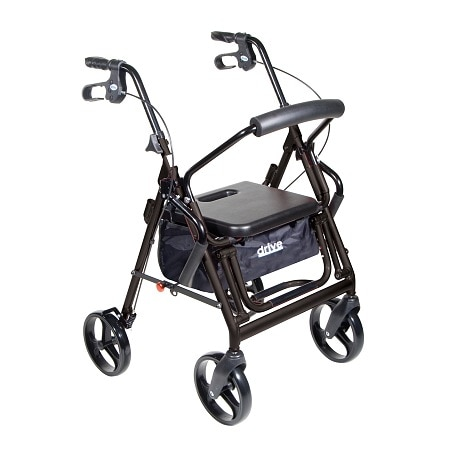 Drive Medical Duet Transport Wheelchair Rollator Walker Black