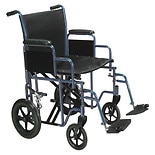Drive Medical Bariatric Heavy Duty Transport Wheelchair with Swing Away Footrest 20 Inch Blue