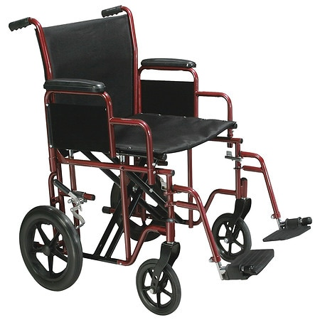 Drive Medical Bariatric Heavy Duty Transport Wheelchair with Swing Away Footrest 20 Inch Red