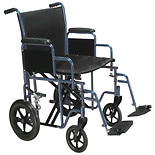Drive Medical Bariatric Heavy Duty Transport Wheelchair with Swing Away Footrest 22 Inch Blue