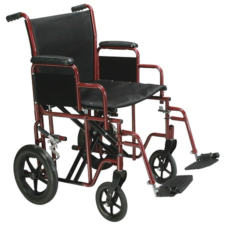 Drive Medical Bariatric Heavy Duty Transport Wheelchair with Swing Away Footrest 22 Inch Red