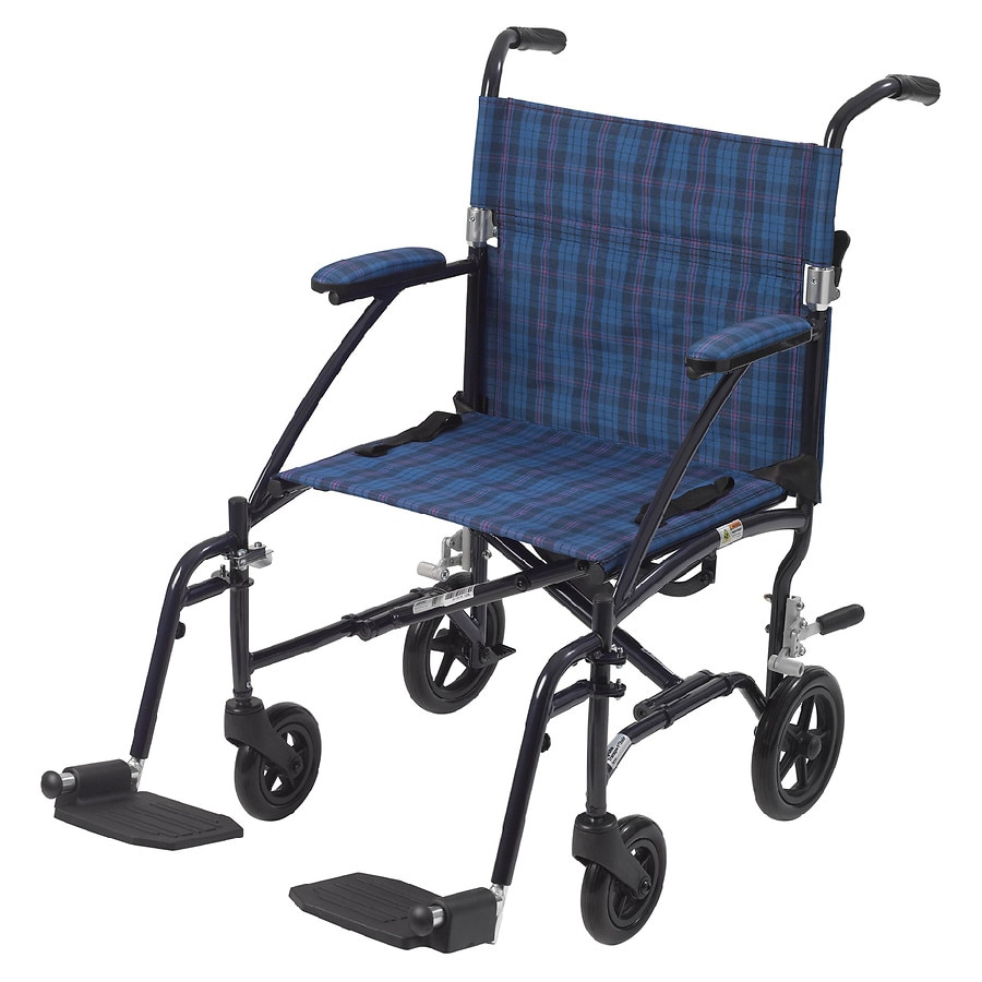 Drive Medical Fly-Lite Aluminum Transport Chair Blue Plaid | Walgreens