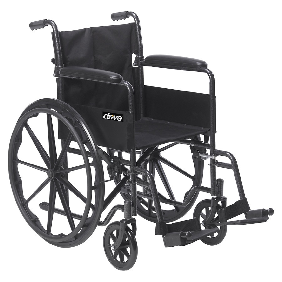Drive Medical Silver Sport 1 Wheelchair with Full Arms and Swing away  Removable Footrest 18 inch