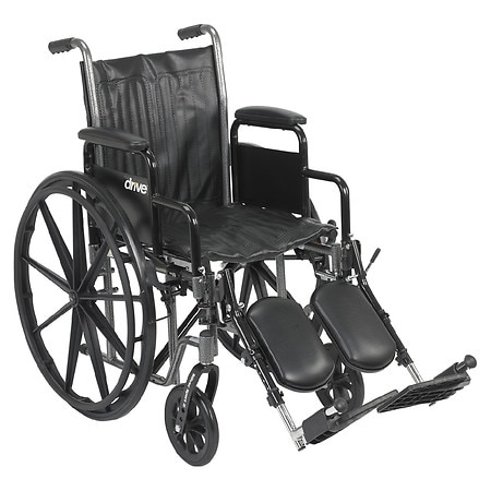 Drive Medical Silver Sport 2 Wheelchair with Detachable Desk Arms and Elevating Leg Rest 18 inch
