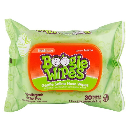 Boogie Wipes Gentle Saline Wipes for Stuffy Noses Fresh Scent