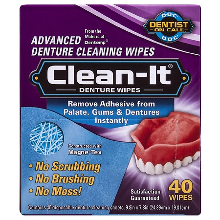 Dentist On Call Clean-It Advanced Denture Cleaning Wipes