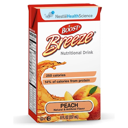 Boost Breeze Resource Drink Peach, 8 oz Cartons, 27 pk