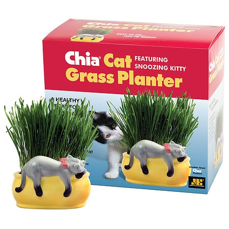 - CHIA Cat Grass Handmade Decorative Grass Planter Snoozing Kitty