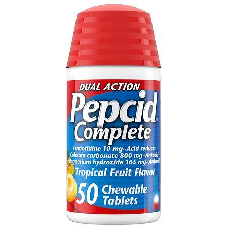 Pepcid Complete Acid Reducer + Antacid, Chewable Tablets Tropical Fruit - 50 ea