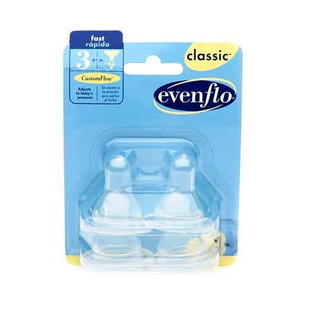 Image of Evenflo Classic Fast Flow Nipples - 4 ea