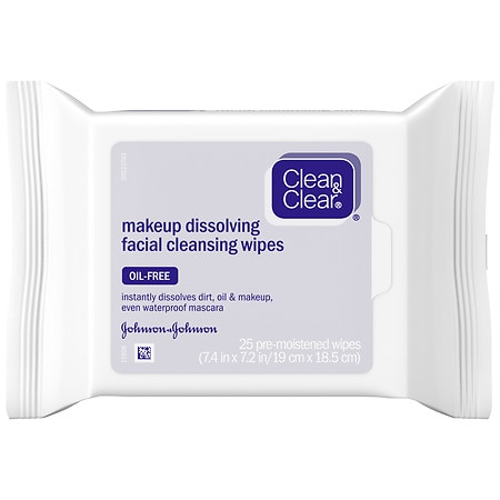 Clean & Clear Makeup Dissolving Facial Cleansing Wipes 25 Ct