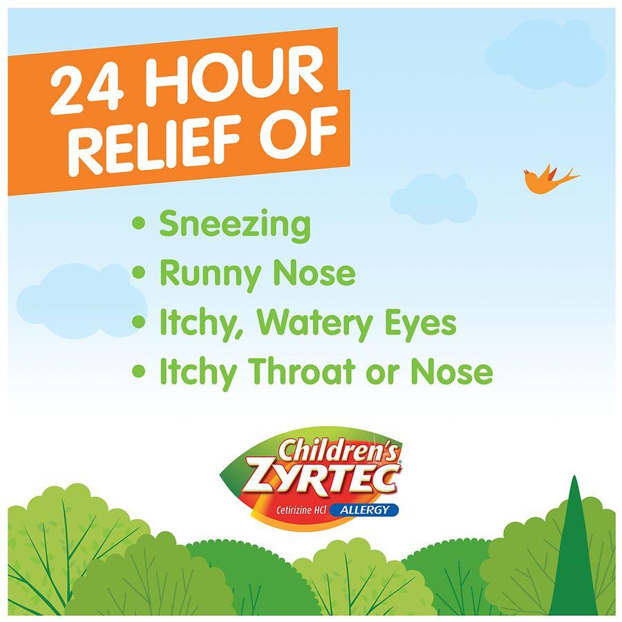 children's zyrtec allergy syrup, sugar free bubble gum | walgreens