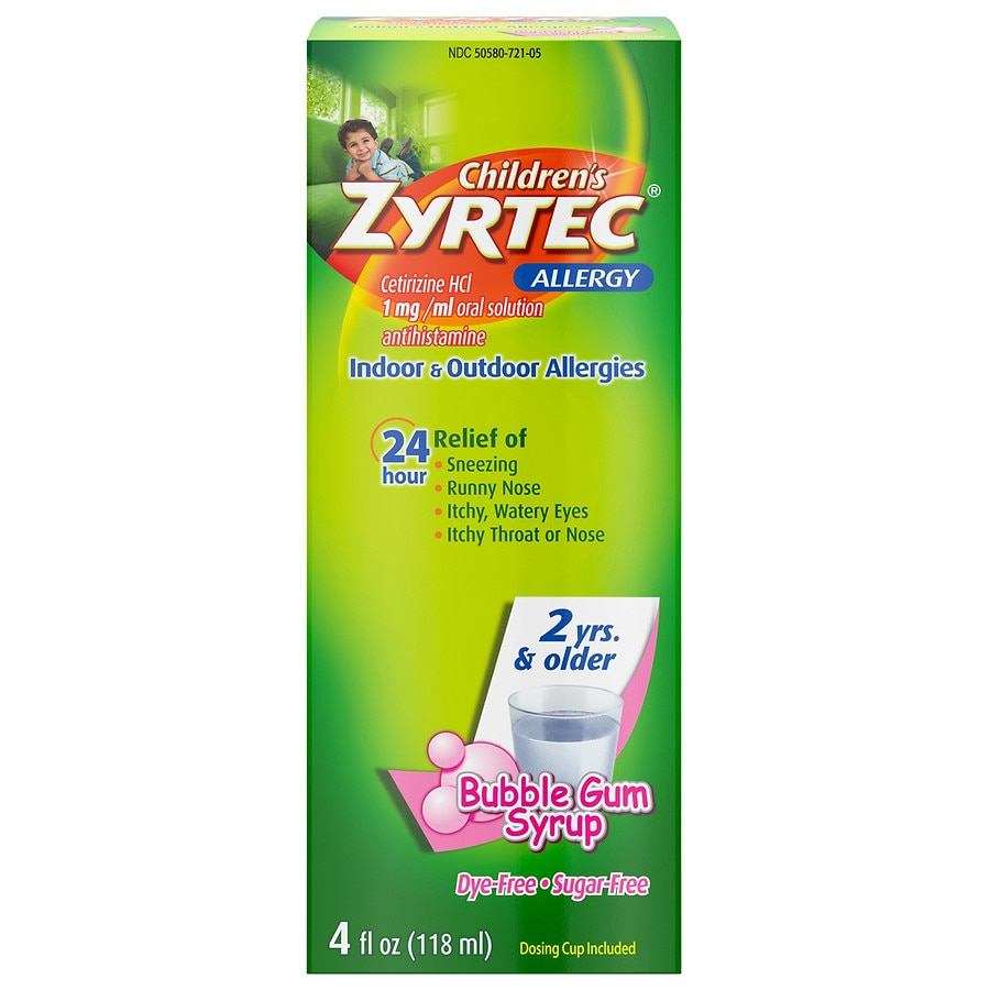 Childrens Zyrtec 24 Hour Allergy Relief Syrup Bubble Gum Bubble