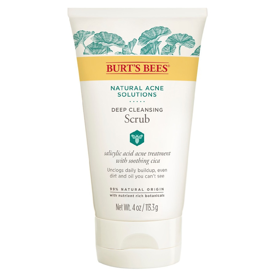 Burt's Bees Natural Acne Solutions Pore Refining Scrub, Exfoliating Face  Wash for Oily Skin