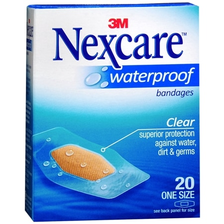 Nexcare Waterproof Clear Bandages 1 1/16in x 2 1/4in - 20 ea