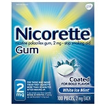 Nicorette Stop Smoking Aid Gum 2 mg White Ice Mint