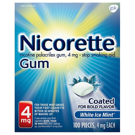 Nicorette Stop Smoking Aid Gum 4 mg Mint - 100 ea