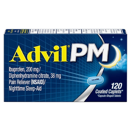 Advil PM Pain Reliever & Nighttime Sleep Aid Coated Caplet, 200mg Ibuprofen - 120 Ea