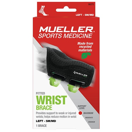 Mueller Green Fitted Wrist Brace, Maximum Support, Left S/M - 1 ea