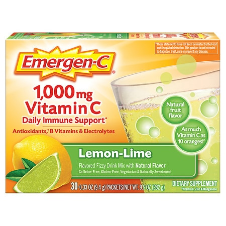 Emergen-C 1000 mg Vitamin C Dietary Supplement Fizzy Drink Mix Lemon Lime