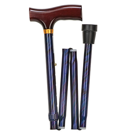 Mabis Lightweight Adjustable Designer Cane, Derby Top Cyclone Blue