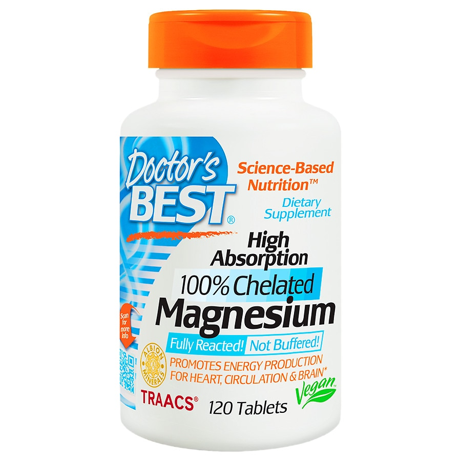 Doctor's Best High Absorption 100% Chelated Magnesium, Tablets