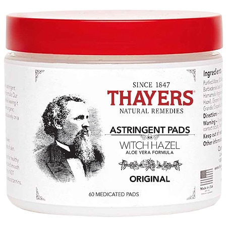 Thayers Original Witch Hazel with Organic Aloe Vera Formula Astringent Pads