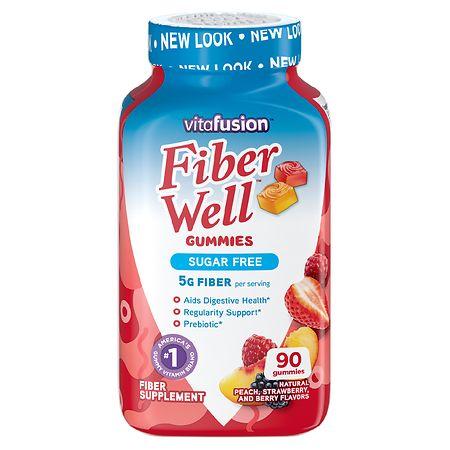 Vitafusion Fiber Well Gummy Vitamins Peach, Strawberry & Berry - 90 ea