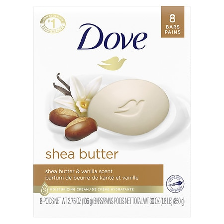 Dove Purely Pampering Bar Soap, Nourishing Care Shea Butter, 8 Bar