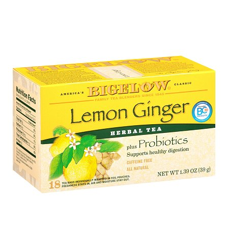 Bigelow Herb Tea plus Probiotics Lemon Ginger - 0.08 oz. x 18 pack