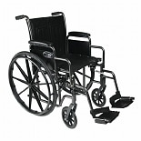 Everest & Jennings Traveler SE Steel Wheelchair Detachable Desk Arm & Swingaway Footrest 18in Seat Black