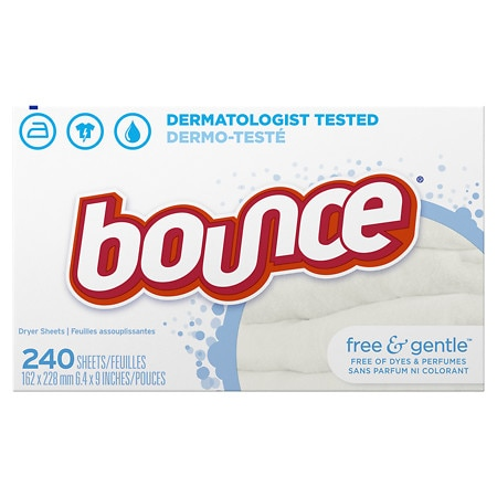 Bounce Fabric Softener Dryer Sheets Free & Gentle Unscented - 240 ea