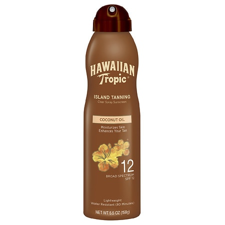 Hawaiian Tropic Tanning Dry Oil Clear Spray Sunscreen, SPF 12