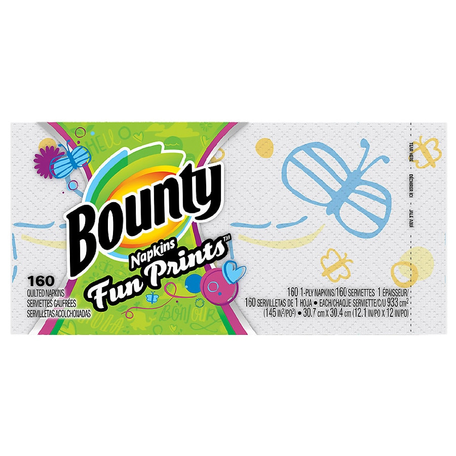 Bounty Quilted Napkins Signature Series Fun Prints  Walgreens Resume Paper