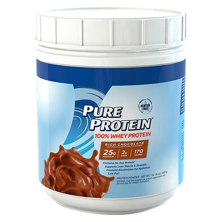 Pure Protein 100% Whey Protein Shake Powder Rich Chocolate - 16 oz.
