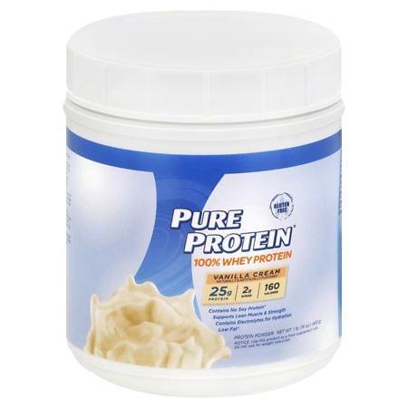 Pure Protein 100% Whey Protein Shake Powder Vanilla Cream - 16 oz.