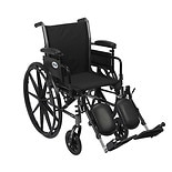 "Drive Medical Cruiser III Lightweight Wheelchair w FlipBack Removable Adj Desk Arms & Leg Rest 18"" Seat Black"