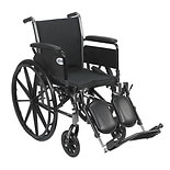 "Drive Medical Cruiser III Lightweight Wheelchair w Flip Back Removable Full Arms and Leg Rest 20"" Seat Black"